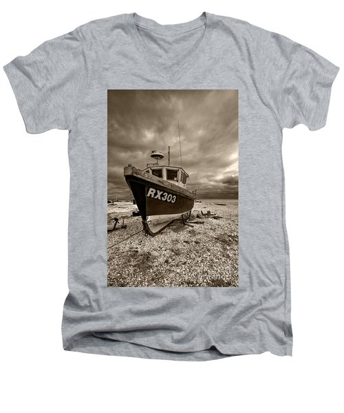 Dungeness Boat Under Stormy Skies Men's V-Neck T-Shirt