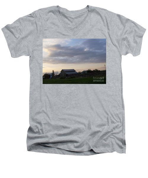 Men's V-Neck T-Shirt featuring the photograph Dusk To Dawn by Bobbee Rickard