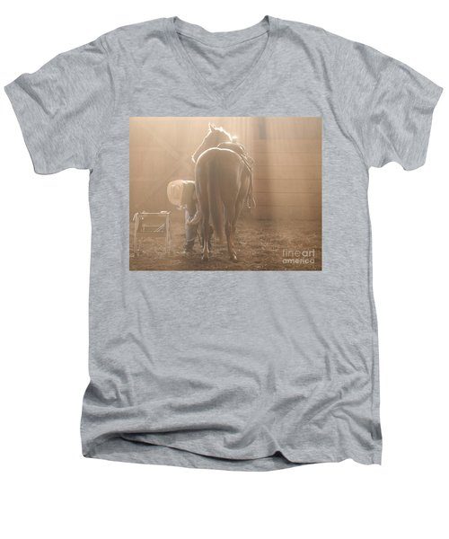 Dusty Morning Pedicure Men's V-Neck T-Shirt by Carol Lynn Coronios
