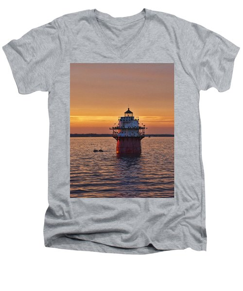 Duxbury Pier Light At Sunset Men's V-Neck T-Shirt