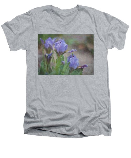 Men's V-Neck T-Shirt featuring the photograph Dwarf Iris With Texture by Patti Deters