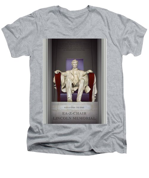 Ea-z-chair Lincoln Memorial 2 Men's V-Neck T-Shirt by Mike McGlothlen