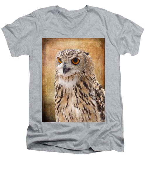 Eagle Owl Men's V-Neck T-Shirt by Lynn Bolt