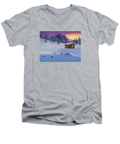 Early Christmas Morn Men's V-Neck T-Shirt by Jack Malloch