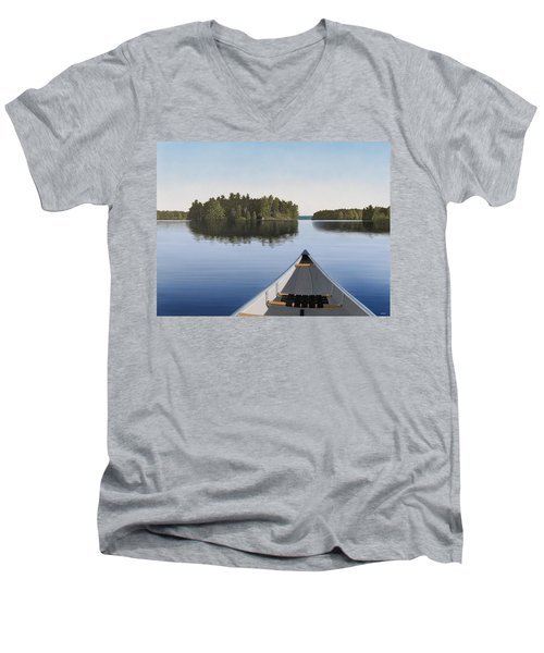 Men's V-Neck T-Shirt featuring the painting Early Evening Paddle  by Kenneth M  Kirsch