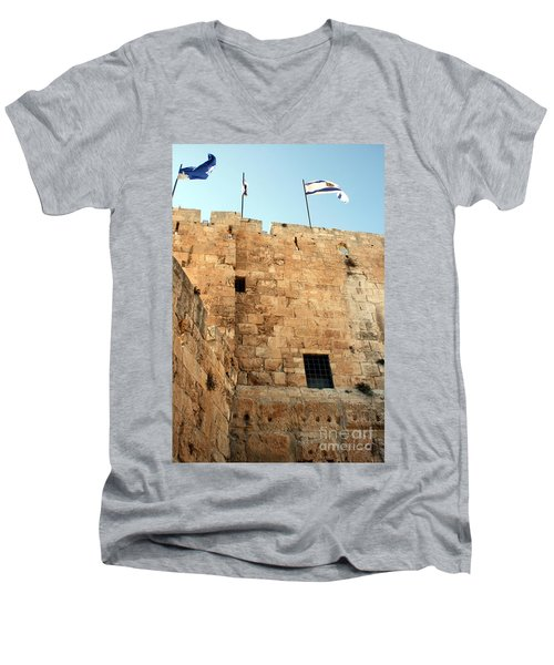 Men's V-Neck T-Shirt featuring the photograph Early Morning At The Jaffa Gate by Doc Braham