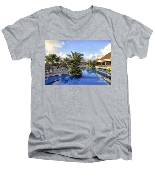 Men's V-Neck T-Shirt featuring the photograph Early Morning At The Pool by Teresa Zieba