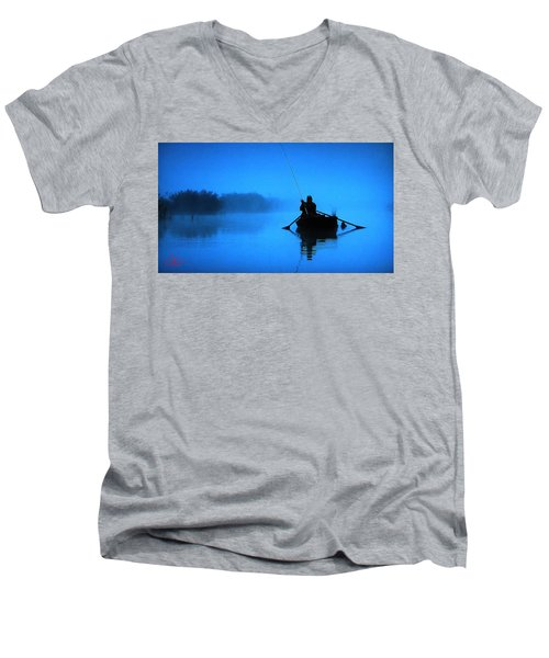 Early Morning Fishing  Men's V-Neck T-Shirt