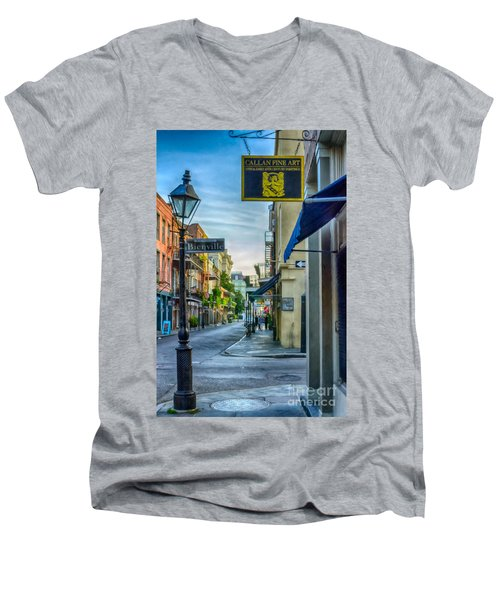 Early Morning In French Quarter Nola Men's V-Neck T-Shirt by Kathleen K Parker