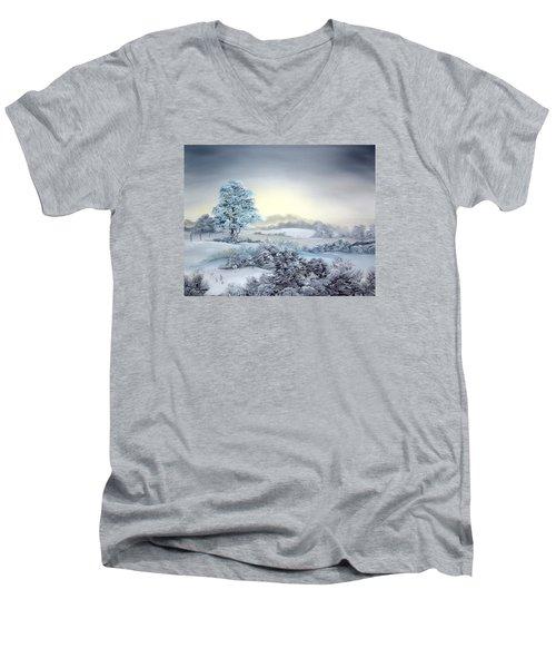 Early Morning Snows Men's V-Neck T-Shirt by Jean Walker