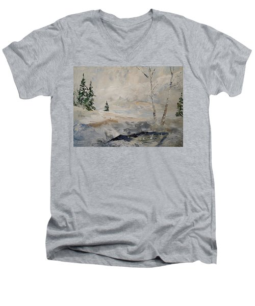Men's V-Neck T-Shirt featuring the painting Early Snow by Alan Lakin