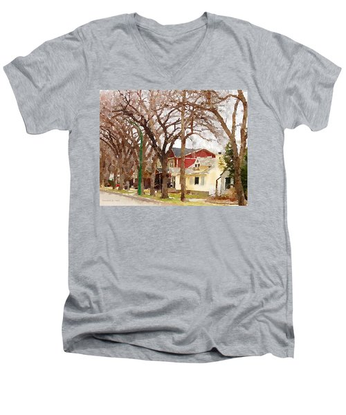 Early Spring Street Men's V-Neck T-Shirt by Donald S Hall