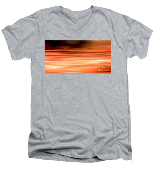 Abstract Earth Motion Burnt Orange Men's V-Neck T-Shirt