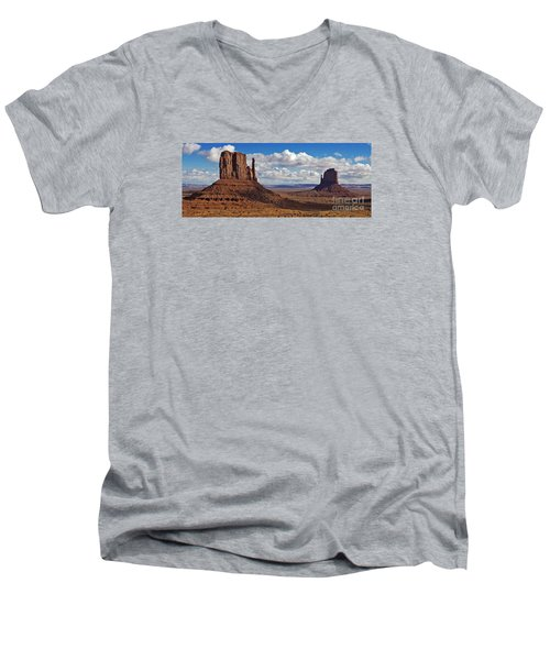 Men's V-Neck T-Shirt featuring the photograph East And West Mittens by Jerry Fornarotto