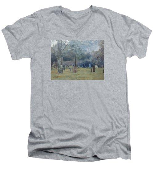 East End Cemetery Amagansett Men's V-Neck T-Shirt by Barbara Barber