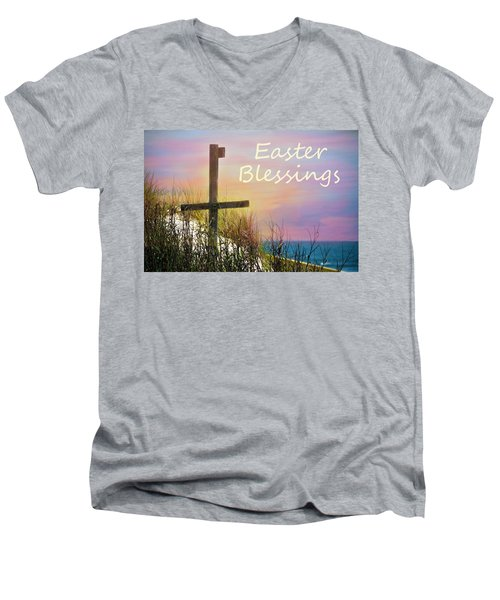 Easter Blessings Cross Men's V-Neck T-Shirt by Sandi OReilly