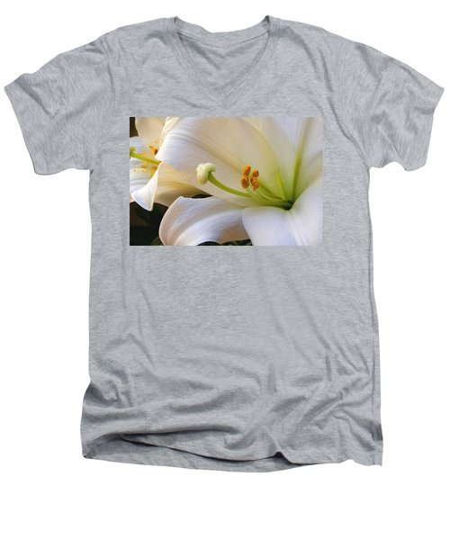 Men's V-Neck T-Shirt featuring the photograph Easter Lily by Bonnie Willis