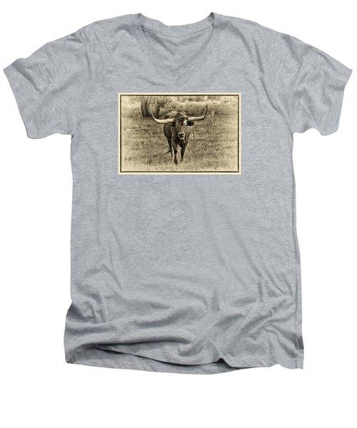 Eat Leaf Not Beef Sepia Men's V-Neck T-Shirt by Priscilla Burgers