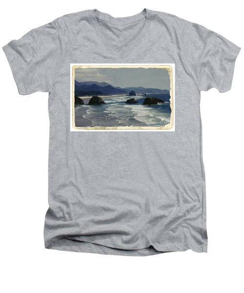 Ecola Sea Stacks Men's V-Neck T-Shirt by Chalet Roome-Rigdon