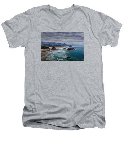 Ecola Viewpoint Men's V-Neck T-Shirt by Rick Berk