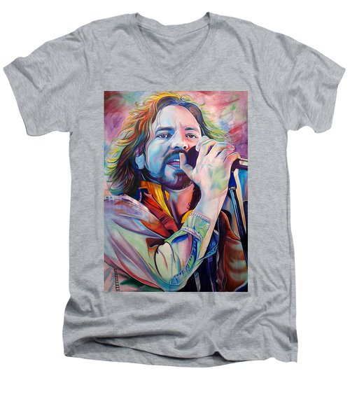 Eddie Vedder In Pink And Blue Men's V-Neck T-Shirt by Joshua Morton