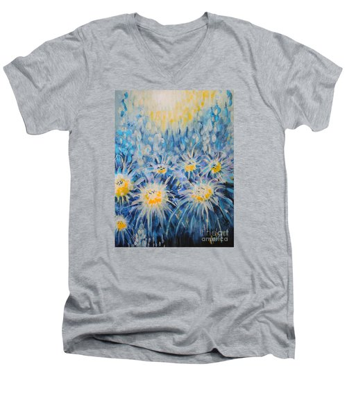 Men's V-Neck T-Shirt featuring the painting Edentian Garden by Holly Carmichael