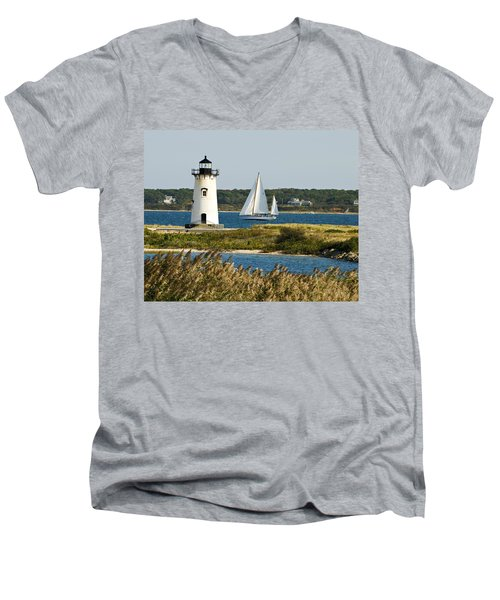 Edgartown Light At Martha's Vineyard Men's V-Neck T-Shirt