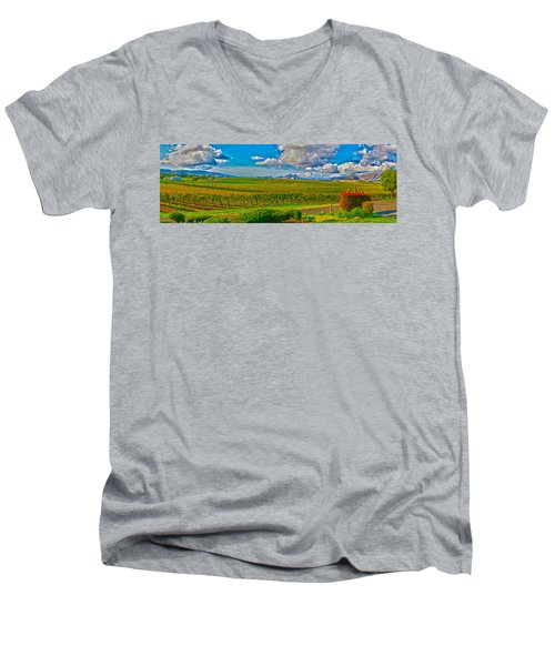 Edna Wineries Ca Men's V-Neck T-Shirt by Richard J Cassato