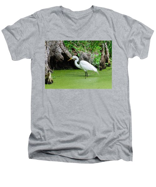 Egret Fishing Men's V-Neck T-Shirt