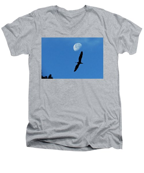 Men's V-Neck T-Shirt featuring the photograph Egret Flight by Charlotte Schafer