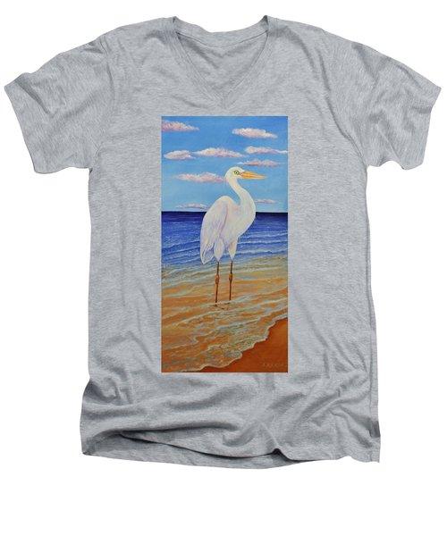 Eager Egret  Men's V-Neck T-Shirt