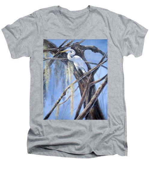 Egret Perch Men's V-Neck T-Shirt