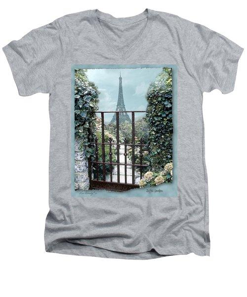 Eiffel Garden In Blue Men's V-Neck T-Shirt