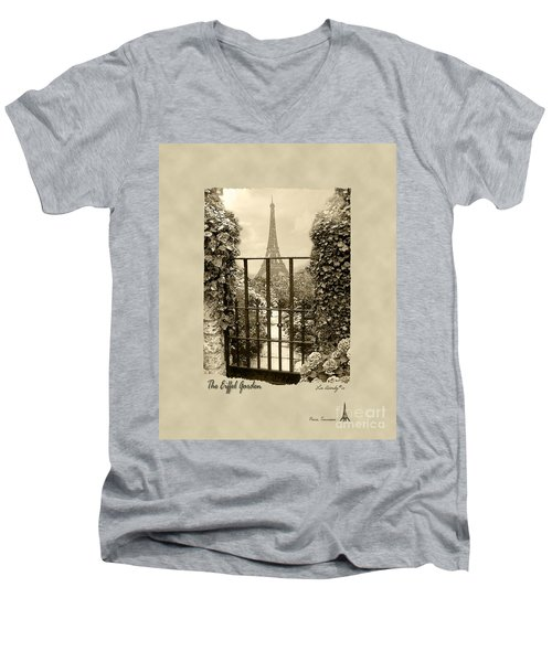 Eiffel Garden Sepia Men's V-Neck T-Shirt