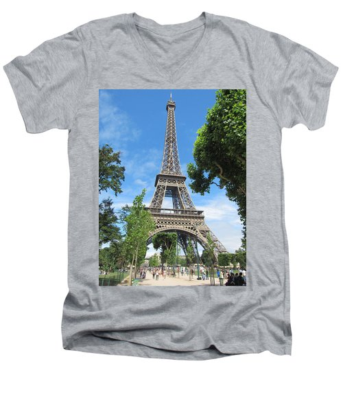Men's V-Neck T-Shirt featuring the photograph Eiffel Tower - 1 by Pema Hou