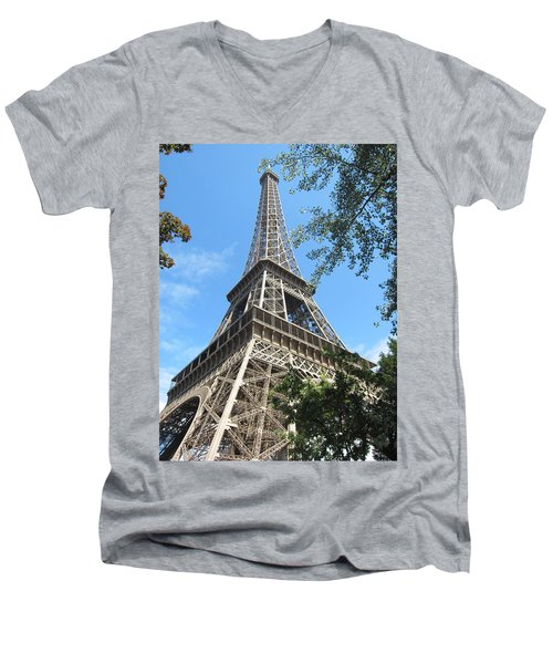 Men's V-Neck T-Shirt featuring the photograph Eiffel Tower - 2 by Pema Hou