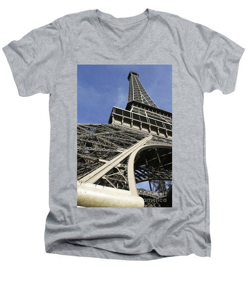 Men's V-Neck T-Shirt featuring the photograph Eiffel Tower by Belinda Greb