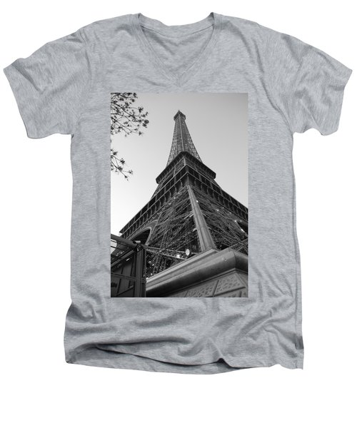 Eiffel Tower In Black And White Men's V-Neck T-Shirt