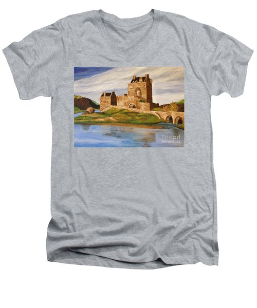 Eilean Donan Castle Men's V-Neck T-Shirt by Christy Saunders Church