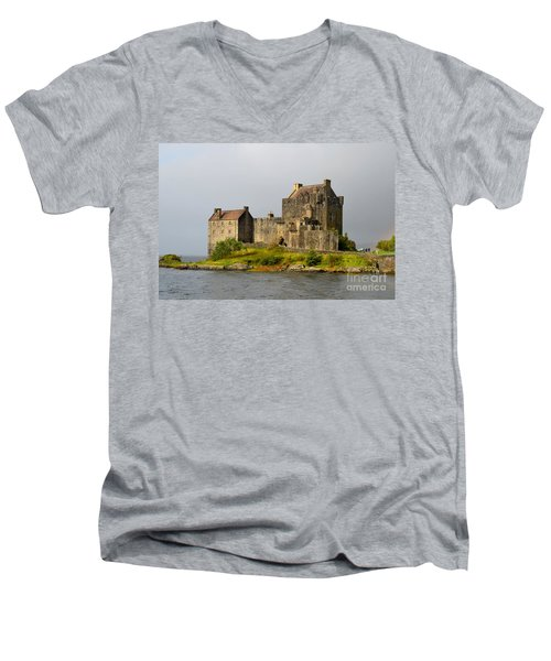 Eilean Donan Castle In Scotland Men's V-Neck T-Shirt