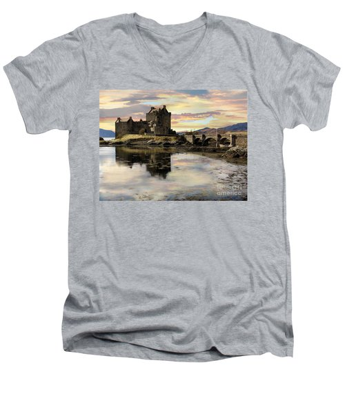 Eilean Donan Castle Scotland Men's V-Neck T-Shirt by Jacqi Elmslie