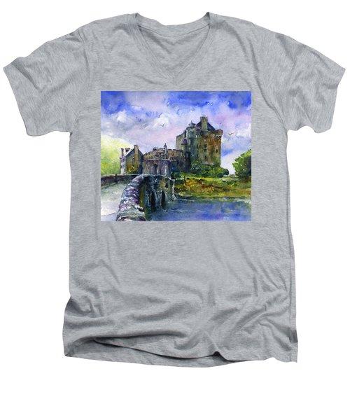 Eilean Donan Castle Scotland Men's V-Neck T-Shirt by John D Benson