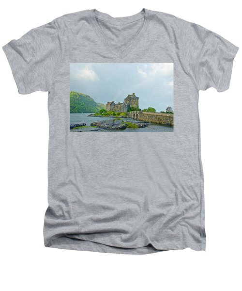 Eilean Donan Castle Textured 2 Men's V-Neck T-Shirt