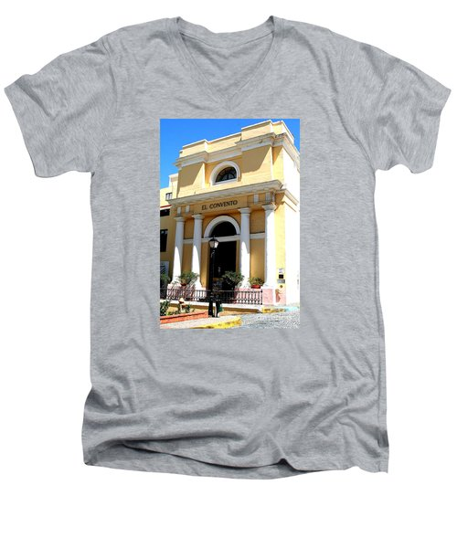 Men's V-Neck T-Shirt featuring the photograph El Convento Hotel by The Art of Alice Terrill