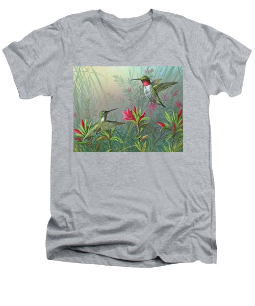 Men's V-Neck T-Shirt featuring the painting Elegance  by Mike Brown