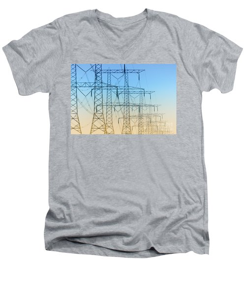 Electricity Pylons Standing In A Row Men's V-Neck T-Shirt