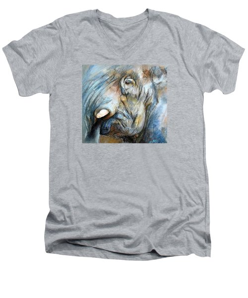 Men's V-Neck T-Shirt featuring the painting Elephant Eye by Jieming Wang