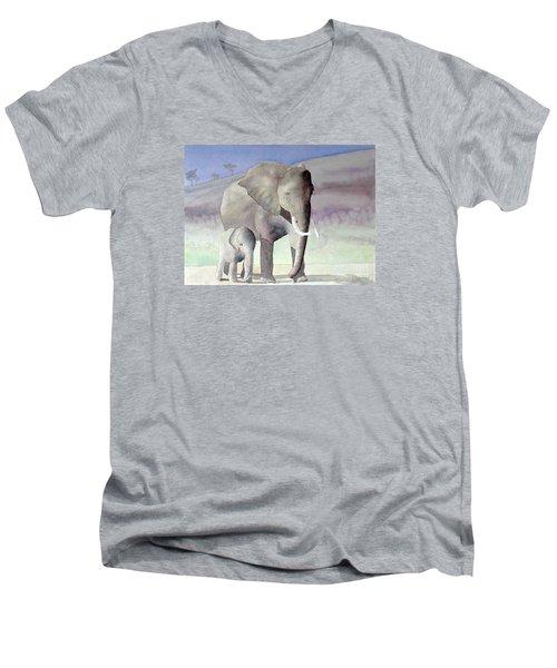 Elephant Family Men's V-Neck T-Shirt by Laurel Best