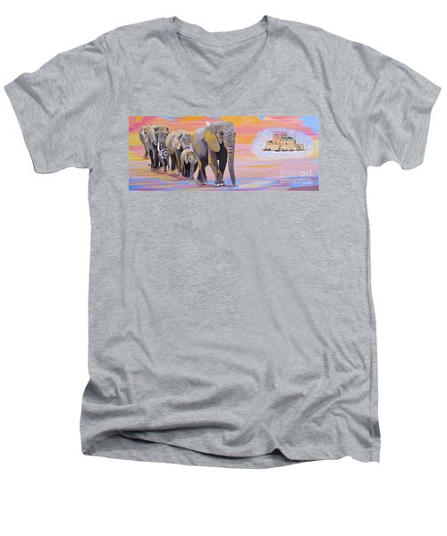 Elephant Fantasy Must Open Men's V-Neck T-Shirt by Phyllis Kaltenbach