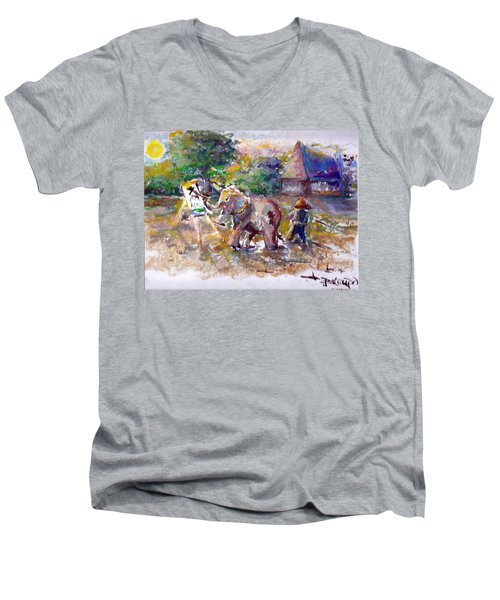 Men's V-Neck T-Shirt featuring the painting Elephant Painting by Bernadette Krupa